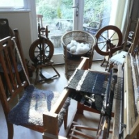 Weaving equipment in the studio workshop