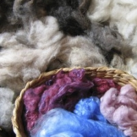 Samples of fleece with coloured silk