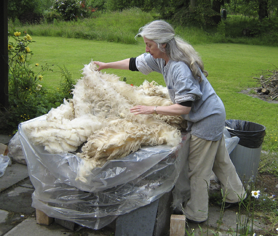 Preparing fleece for washing outdoors